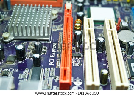 "Computer motherboards that use it. focus text ""PCI Express"""