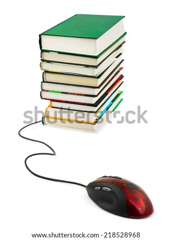 Computer mouse and books - e-learning concept