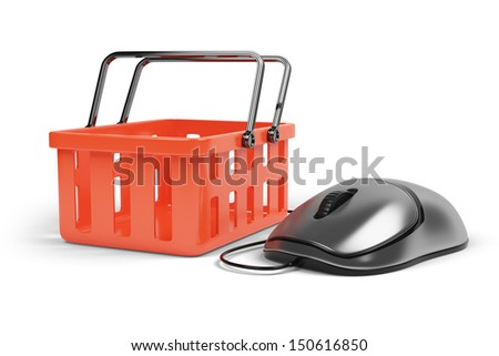 computer mouse and shoping cart isolated on white background. Internet market concept - stock photo