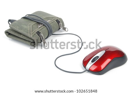 Computer mouse and wallet - stock photo