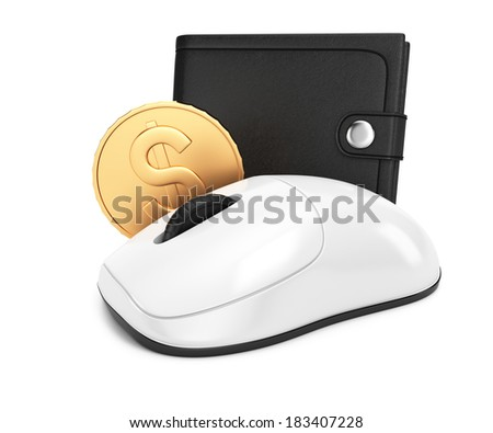 Computer mouse and wallet isolated on white background. 3d rendering image. Internet shopping concept
