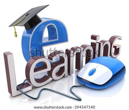 computer mouse and word E-learning - education concept in the design of information related to education - stock photo