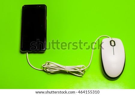 computer mouse are connected to a mobile phone