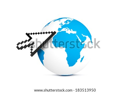 Computer mouse arrow cursor symbol pointing earth map globe, isolated on white background. - stock photo