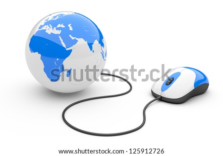 Computer mouse connected to a globe. 3d illustration isolated on a white background