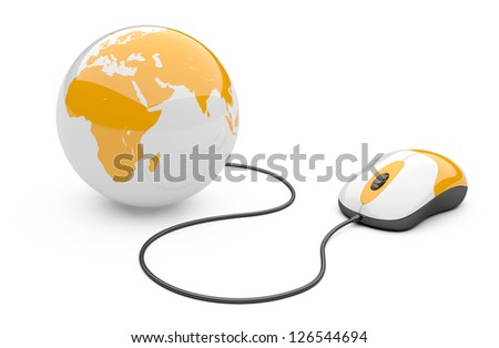 Computer mouse connected to a globe. 3d illustration isolated on a white background - stock photo
