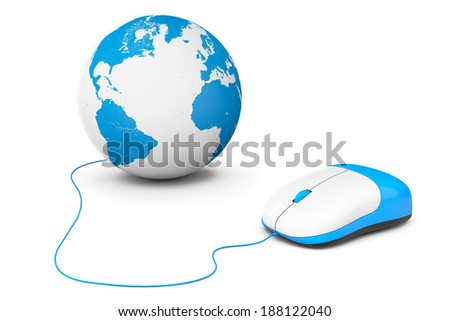 Computer mouse connected to Earth Globe on a white background - stock photo