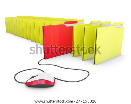 computer mouse connected to one of the folders - stock photo