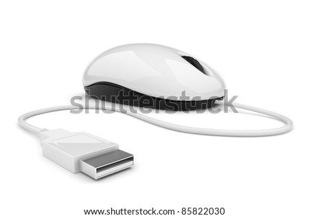 Computer mouse.  3d illustration. Isolated on white - stock photo