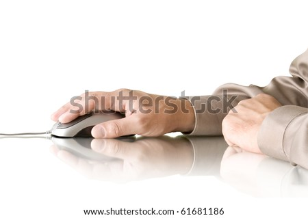 computer mouse in hand and reflection