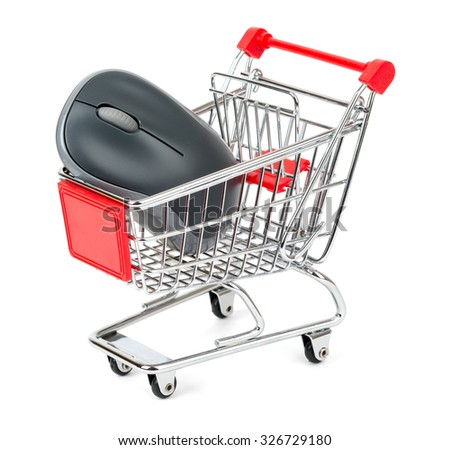 Computer mouse in shopping cart on isolated white background
