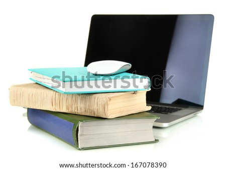 Computer mouse on books and notebook isolated on white - stock photo