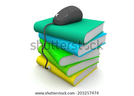 Computer mouse on books - e-learning concept. - stock photo