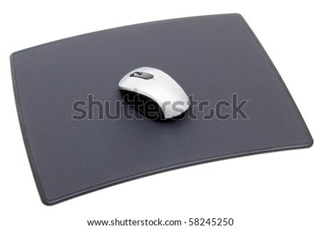 Computer mouse on mouse mat isolated on white - stock photo