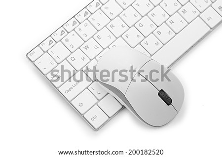 computer mouse on the keyboard - stock photo