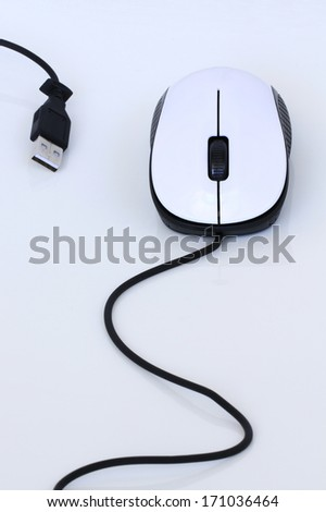 Computer mouse on white background - stock photo