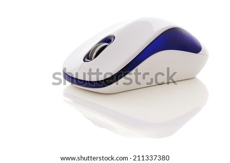 Computer mouse with reflection from surfaces. - stock photo