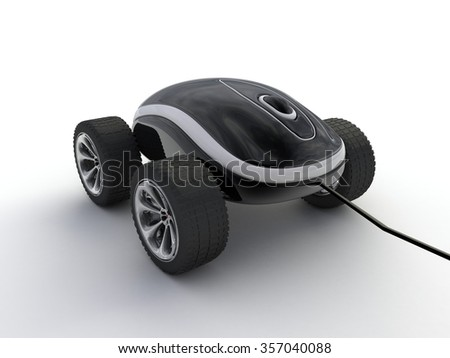 Computer mouse with wheels - stock photo