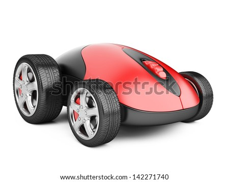 Computer mouse with wheels - 3d image isolated on a white - stock photo