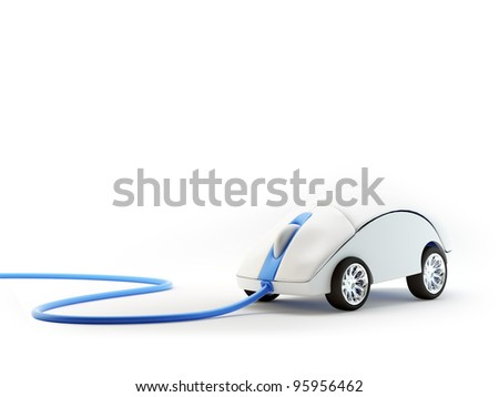 Computer mouse with wheels - internet speed concept - stock photo