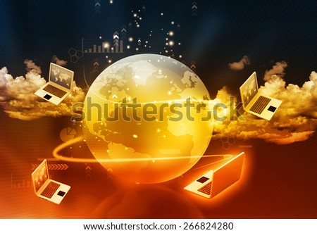 Computer network background  - stock photo