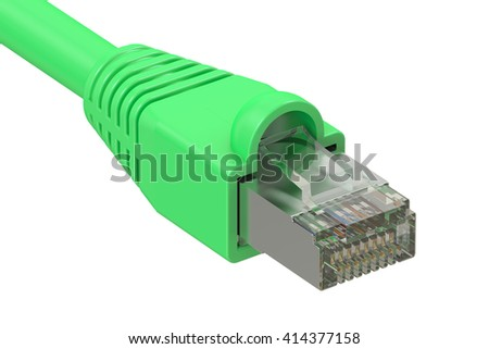 computer network cable, 3D rendering isolated on white background - stock photo