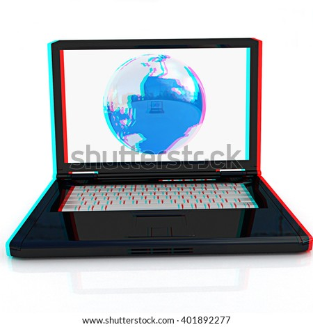 Computer Network Online concept on a white background. Anaglyph. View with red/cyan glasses to see in 3D.