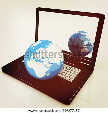 Computer Network Online concept on a white background. 3D illustration. Vintage style.