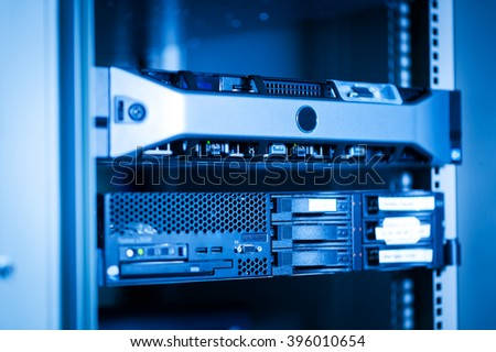 Computer Network servers in data room - stock photo