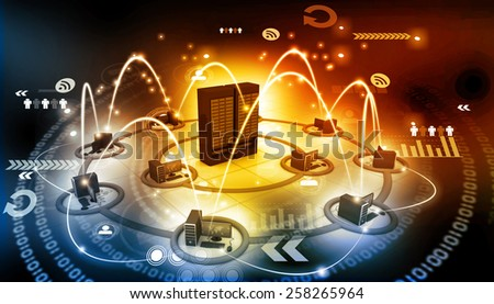 Computer network with server 	 - stock photo