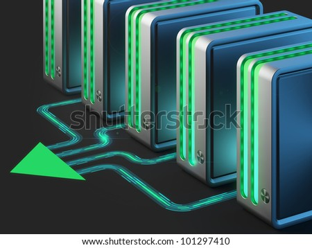 Computer networks. Cloud computing technology. - stock photo