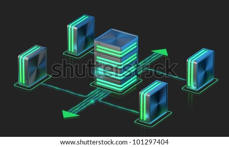 Computer networks. Main server sheme. Cloud computing technology. - stock photo