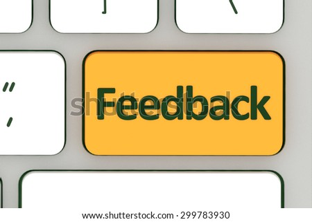 Computer notebook keyboard with feedback key - technology background - stock photo
