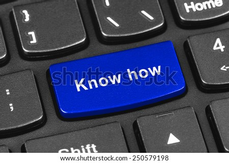Computer notebook keyboard with Know how key - technology background - stock photo