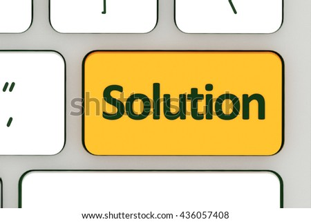 Computer notebook keyboard with solution key - technology background. 3d illustration - stock photo