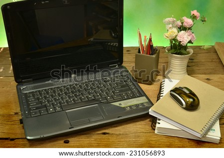 computer notebook on job table