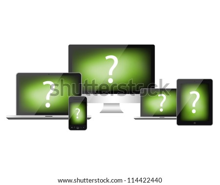 Computer, notebook, tablet pc and mobile phone isolated on white background - stock photo