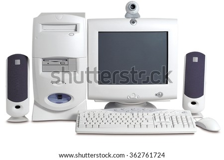 computer old vintage retro white screen technology  pc monitor desktop  - stock photo