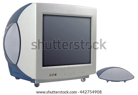 computer old vintage screen desktop technology retro information object  - stock photo