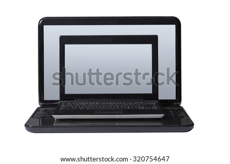 Computer on a computer isolated on white background.