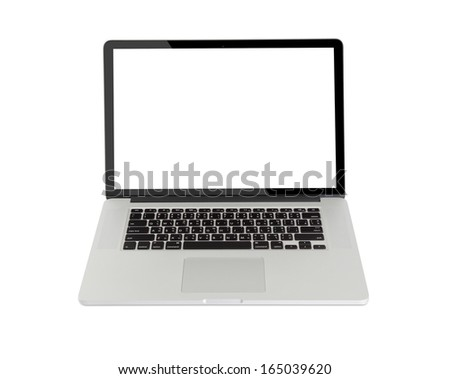 Computer on white background