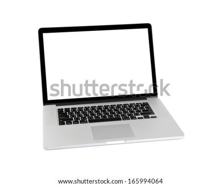 Computer on white background.