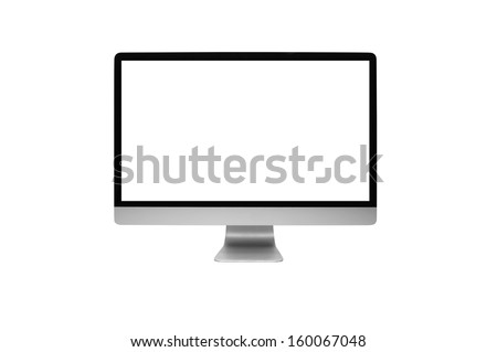 computer on withe background - stock photo