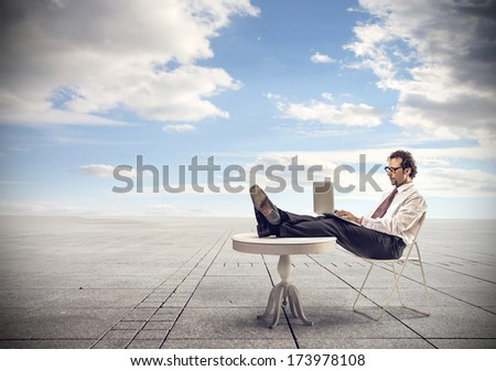 computer outside - stock photo