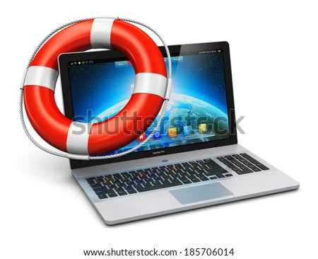 Computer PC help, support and assistance, internet web mobility and business communication concept: red lifesaver inflatable ring belt or buoy on laptop or office notebook keyboard isolated on white - stock photo