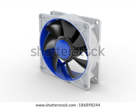 Computer performance cooling fan isolated on white background - stock photo