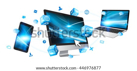 Computer phone and laptop connected with icons '3D rendering'
