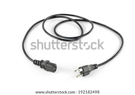 computer power plug cable on a white background - stock photo