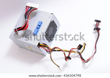 Computer Power Supply Unit Isolated On White Background, Computer Power - stock photo