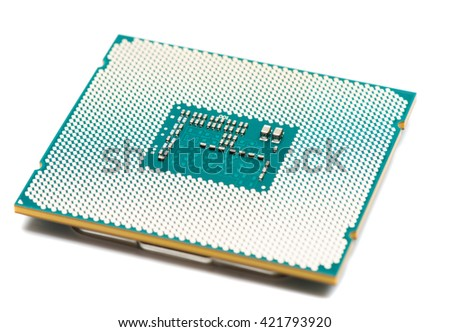 Computer processor CPU on white background - stock photo